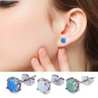2X 6mm rond opale argent Ear Stud boucles d'oreilles bijoux cadeaux dames filles