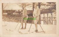 RPPC Postcard Men on Skis Skiing 1928