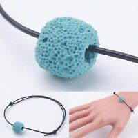 Sky Blue Leather & Lava Bead Aromatherapy Diffuser Scent Bracelet Essential Oil
