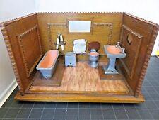 "Vintage Dollhouse Miniature Mid 20th Century BATHROOM Roombox 11""X7"" Collectible"