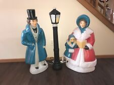 Vintage Christmas Trio Dickens Mr. & Mrs. And Black Lamp Post Lighted Blow Molds