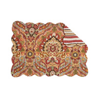 MIRABELLE Quilted Reversible C&F Placemat Parika, Brown, Slate Blue, Green, Gold