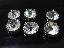 20 Silver Clear Crystal Glass Rhinestones Rose Montees 10mm Sew on Beads