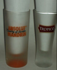 ABSOLUT MANDRIN SWEDEN VODKA TALL & TROPICO TALL SHOT GLASS~BOTH,VERY GOOD~SHOTS