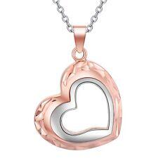 925 Silber PL.Halskette mit Anhänger Rose Gold Engeslrufer Glücksbringer Herz