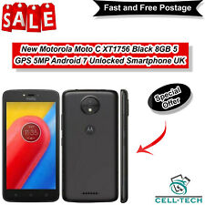 "New Motorola Moto C XT1756 Black 8GB 5"" GPS 5MP Android 7 Unlocked Smartphone UK"