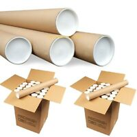 """Cardboard Postal Tubes+Plastic End Caps Strong  A4 A3 A2 A1 A0 50mm 2"""" 76mm 3"""""""