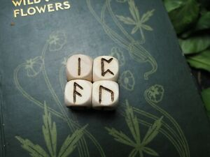 Wooden Runic Dice Set - Pagan, Wicca, Witchcraft, Norse, Divination