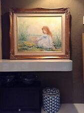 Rowenna Anderson ORIGINAL Girl Beach Flowers Art work Oil Painting SIGNED Framed