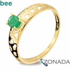 New 9ct Solid Yellow Gold Emerald Ring Size P 7.75 25159/E