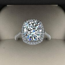 4.00 Ct. Natural Cushion Cut Halo Pave Eternity Diamond Engagement Ring - GIA