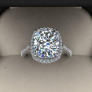 5.00 Ct. Naturale Taglio Cushion Halo Pave Eternity Diamante Fidanzamento Ring -