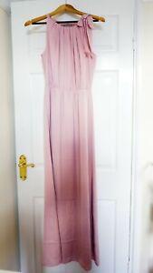 H&M Long Dress Bow Satin Lining, Light Pink, Women Maxi Skirt, UK 8 S, BNWT, £40
