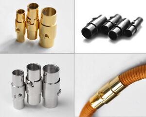 Ø 2,3,4,5,6 8 mm Edelstahl Bajonett-Dreh-Magnet-Verschluss Schwarz- Goldfarben