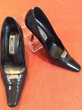 Moschino Designer Italy Black Pumps Shoes Heels Classic Sz  37 US 7
