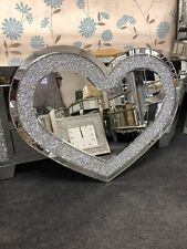 Sparkly Silver Crushed Diamante Crystals Heart Shape  Wall Mirror 90x70 (cm)