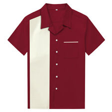 Men Shirts Maroon&White Vintage Bowling Shirts Rockabilly Clothing Party Shirts
