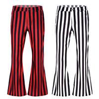 Men's Bell Bottoms Pants Vintage Mid Waist Striped Hippie Flares Long Trousers