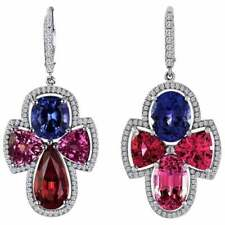 Spectacular Multi-Color 18.65CT Spinel with Round Cubic Zirconia Fine Earrings