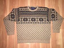 Rare Vtg Men's Ralph Lauren Polo Sport Brown Snowflake Sweater - XXL Fits XL