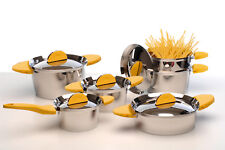 BergHOFF- Stacca 11-Piece Cookware Set Yellow- 1112527Y
