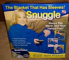 NEW BLUE Snuggle Style Fleece Blanket Sleeves Hands Free Throw Snuggie Wrap