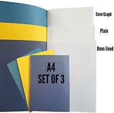 3 X A4 ejercicio Libros 80 página 8mm Forrado, Plain, 5mm Conjunto De Escuela Hogar Gráfico