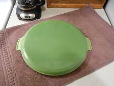 "LE CREUSET France #32, 12 1/2"" Round Kiwi Green Enamel on Cast Iron Grill Pan"