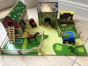 Tidlo Oldfield Farm wooden farmyard set with schleich/other animals tractors UC