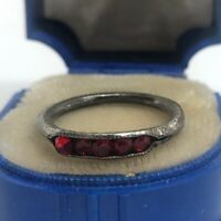 Vintage Sterling Silver Ring 925 Size 5.5 Red Stones Antique Deco Band