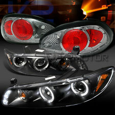 97-03 Grand Prix Black Dual Halo LED Projector Headlights+Smoke Tail Lamps