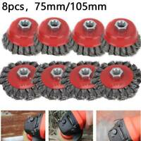 8Pcs Twist Knot Wire Wheel Disc Cup Brush Set Kit for Angle Grinder M14 Crew