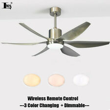56inch Dimmable LED Ceiling Fan Light Brushed Nickel Finish LED Chandelier Lamp