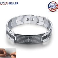 Bracelet Stainless Steel Black Silver Tone Religious Cross English Prayer Mens