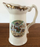Vintage New Mexico Souvenir Creamer Small Pitcher Ceramic Gold Rim Mid-Century