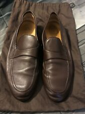 GUCCI Brown Leather Slip On Casual Loafers Moccasins Size 10