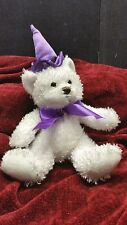 """Halloween white teddy bear in witches purple hat plush kids of america corp 9"""""""