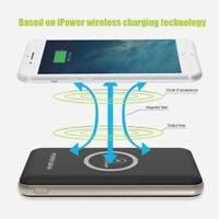 100000mAh Power Bank Qi 2IN1 Wireless Charging 2USB LED Portable Battery Charger
