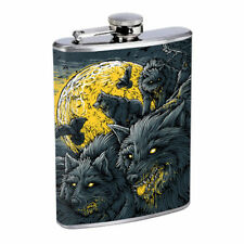 Hungry Wolf Moon Em1 Flask 8oz Stainless Steel Hip Drinking Whiskey