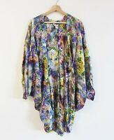 Miss Cocoa Size 10 (S M L) Tropical Animal Print 100% Silk Kimono Duster Jacket