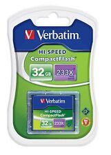 ($0 P& H) Verbatim High Speed 32MB/S CF Compact Flash Card 233x 32gb P/N 62865