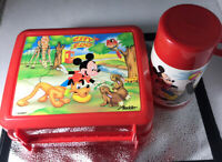 Disney Mickey Mouse 1980s Lunch Pale City Zoo W/Thermos Aladdin Plastic Vintage