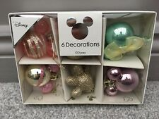 NEW Primark Disney 6 Pack Mickey Minnie Christmas Bauble Decorations PINK GOLD