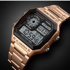 Men Digital Quartz Wrist Watch Sport Army Waterproof LED Gold Stainless Steel CZ