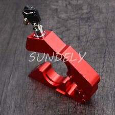 Aluminum Red Motorcycle Handlebar Brake lever Grip Security Lock Anit Theft