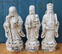 "12"" China Dehua White Porcelain 3 Longevity God Fu Lu Shou Kid Peach Statue Set"