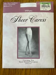 JC Penney Worthington Silky Sheer Caress Satiny Control Top White Reinforced Toe