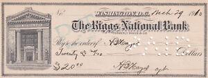 WASHINGTON D. C., The Riggs National Bank Receipt, 1910
