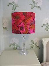 Handmade OVAL Drum Lampshade Kaffe Fassett Lotus Leaf Wine Fabric 30cm