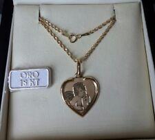 Collana funetta e ciondolo cuore portafortuna angelo in oro giallo 750 18 kt